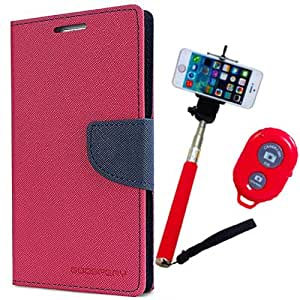 Aart Fancy Diary Card Wallet Flip Case Back Cover For Nokia 640 - (Pink) + Remote Aux Wired Fashionable Selfie Stick Compatible for all Mobiles Phones By Aart Store