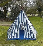 Blue Stripey wigwam teepee / play tent for undoor and outdoor fun. by PERFECT PLANTS