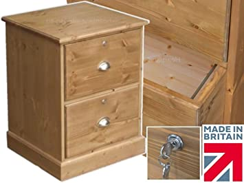 Solid Pine Filing Cabinet, 2 Drawer Handcrafted & Waxed Folio Filing Unit with Locks. Choice of Colours. No flat packs, No assembly (FC-F1LT)