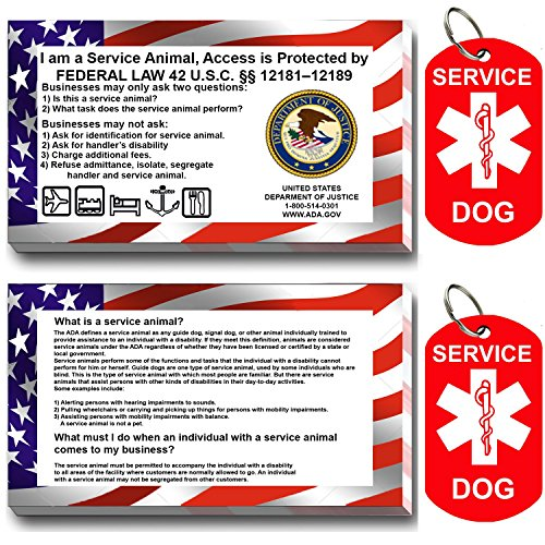 Service Dog ID Tag Kit, 50 Double Sided ADA Info Cards and 2 Premium Aluminum Double Sided Dog Tags (Double Sided Dog Id Tag compare prices)