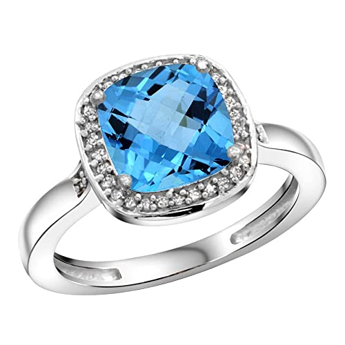 Revoni Sterling Silver Swiss Blue Topaz & Diamond Ring, Cushion Cut Stone (8 mm)