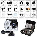COOAU 4K Action Camera Cam, 30M Underwater Waterproof Sport Helmet Camcorder , 170°Wide Angle, 1050mAh Battery, 20 Accessories Kit for Bike Motorcycle Surfing Diving Swimming Skiing Climbing, Silver