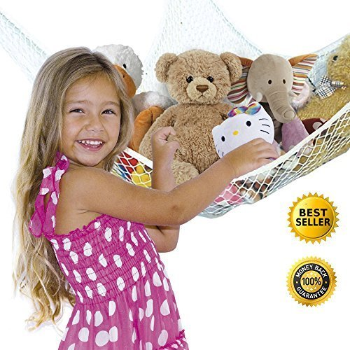 Toy-Organizer-Net-Hammock-for-Stuffed-Animals-Jumbo-Storage-Mesh-Solution-White-Hardware-Included