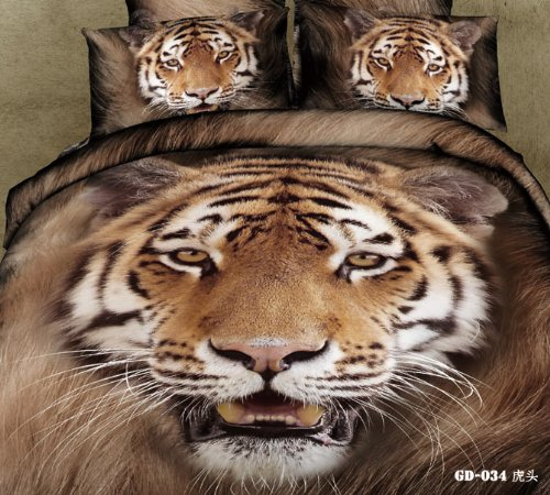 Queen King Size 100% Cotton 7-Pieces 3D Big Tiger Head Brown King Animal Prints Fitted Sheet Set With Rubber Around Duvet Cover Set/Bed Linens/Bed Sheet Sets/Bedclothes/Bedding Sets/Bed Sets/Bed Covers/ Comforters Sets Bed In A Bag (King) front-852018