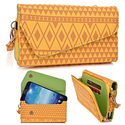 Mustard Aztec Tribal Print Crossbody Wallet Fits Huawei Ascend Mate Mt1-U06