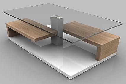 Table basse TINA Sonoma coloris chêne clair, 1050 x 590 x 400 mm -PEGANE-