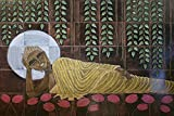 Charismatic muralscape wooden mural: Buddha - Sleeping on lotus