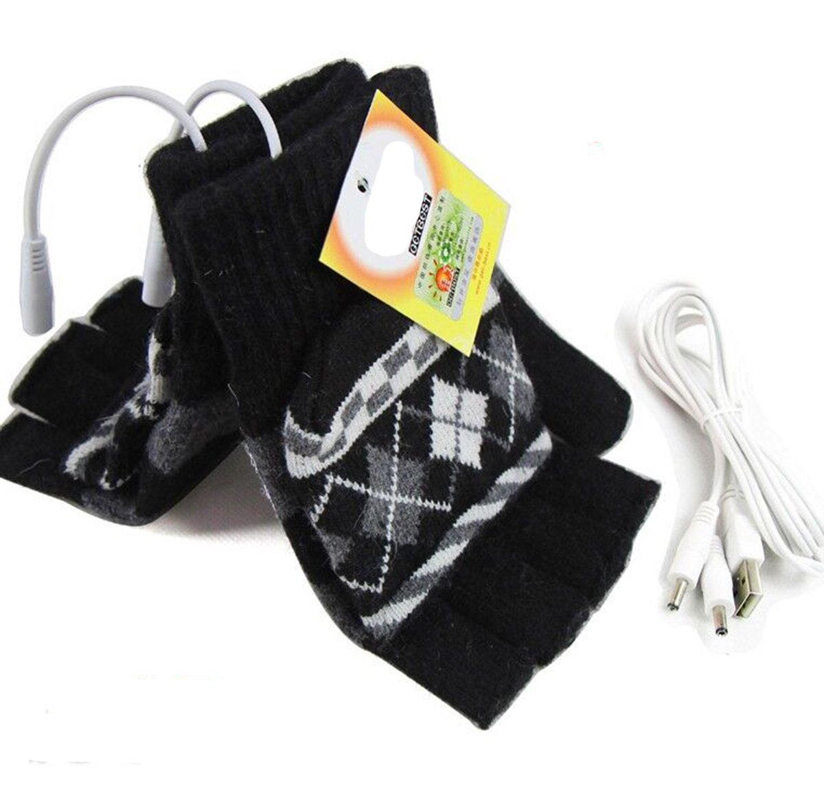 SOONHUA Laptop Rechargeable USB Heated Knitting Wool Hand Gloves Half Finger for Winter Keep Warm Safety (Black)