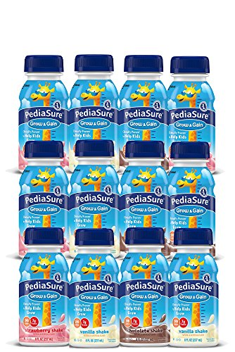 PediaSure Grow & Gain, Nutritional Protein Shake for Kids 8 fl oz (12 Count) Variety Pack Drinks with Strawberry, Chocolate, Vanilla. Contains 25 Vitamins, Minerals, Suitable for Lactose Intolerance