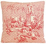 Red Traditional Design Decorative Throw Pillow Case Cow French Toile Cushion Cover Marvic Textiles Les Enfants