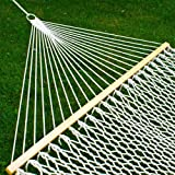 "59"" Cotton Double Wide Hammock with Solid Wood Spreaders 2 Person 450lbs"