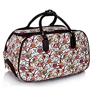 Ladies Travel Holdall Bags Hand Luggage Womens Owl Print Bag Weekend Wheeled Trolley Handbag from TrendStar