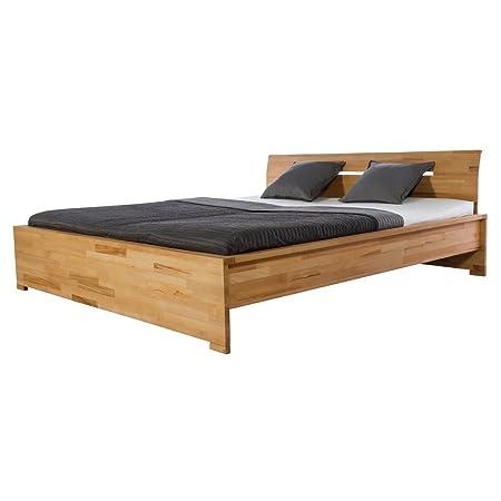 Bett Holzbett Doppelbett Sandnes, 160x200, Massivholz Holz Kernbuche massiv geölt, Breite 170 cm, Tiefe 214 cm, Höhe 88 cm
