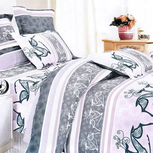 Blancho Bedding - [Purple Deer Totem] 100% Cotton 4PC Comforter Cover/Duvet Cover Combo (King Size)