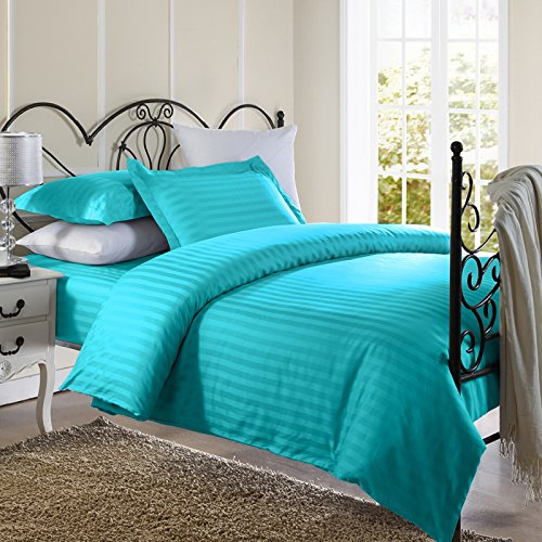 Find Discount Ellington Home 1800 Series 3 Piece Damask Stripe Duvet Cover Set (King, Aqua Blue)