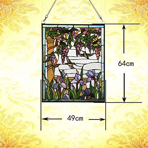 Makenier Vintage Tiffany Style Stained Art Glass Wisteria and Hummingbirds Window Panel Wall Hanging 6