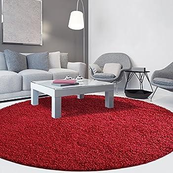 iCustomRug Cozy Soft And Plush Pile, (4 Diameter) Round Shag Area Rug In Red