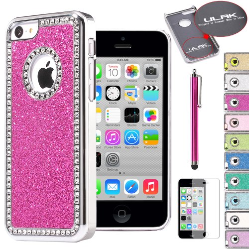Pandamimi ULAK(TM) Luxury Glitter Bling Crystal Rhinestone Chrome Plastic Hard Case Cover for Apple iPhone 5C with Stylus and Screen Protector (Rose Pink)