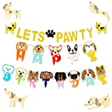 LaVenty Set of 2 Glitter Lets Pawty Banner Dog Birthday Banner Dog Pawty Banner Dog Party Banner Pet Birthday Banner Pet Party Banner
