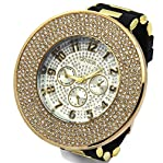 Totally Iced Out Pave Geneva 4line Gold Tone White face Over Sized Hip Hop Men's Bling Watch Watc...