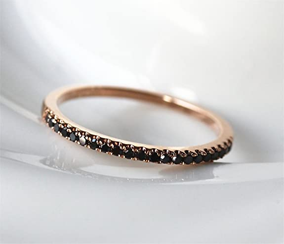VogueGem New 0.25ct Black Diamond 14K Rose Gold Half Eternity Matching Band Wedding Ring