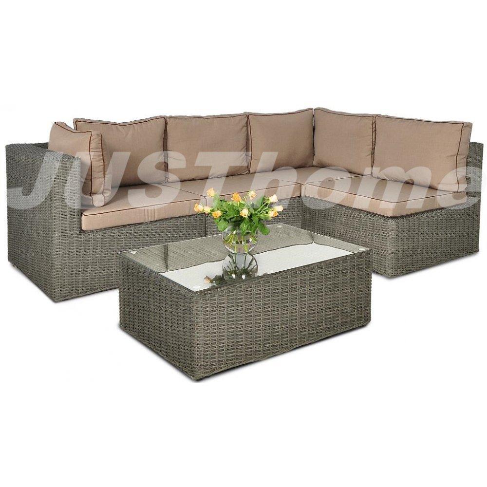 JUSThome Gartenmöbel Sitzgruppe Gartengarnitur Rodos V 1x Ecksofa + 1x Tisch Grau günstig bestellen