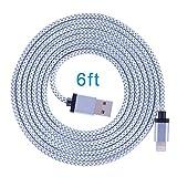 TOPLUS [2 Stück] 2m Nylon Lightning USB Kabel Ladekabel Datenkabel mit Aluminum Kopf für iPhone 6/6s/6 Plus/6s Plus/SE/5/5c/5s, iPad 4 Mini Air iPod Nano 7 iPod Touch 5 (Silberweiß) - 2