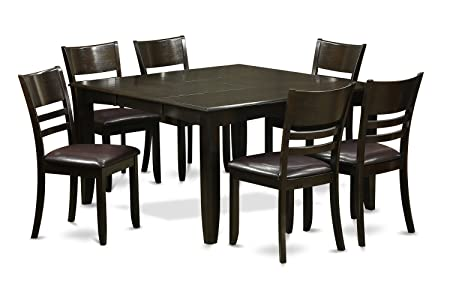 East West Furniture PFLY7-CAP-LC 7-Piece Dining Table Set, Cappuccino Finish