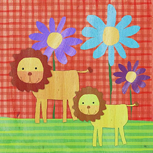 Green Leaf Art Lions on Color Canvas Art