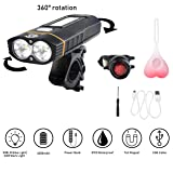 USB Rechargeable 4 in 1 Multifunction Bike Light Set, Powerful 500 Lumens Bike Headlight and 2 Taillights And Easy to Install. 360° Rotation to Wide & Long Cover Range By ChantPower (Color: Black and Orange)
