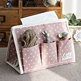 Natural Cotton and Linen Tissue Dispenser Box Desk Organizer w/ 6 Pockets Pink Dots