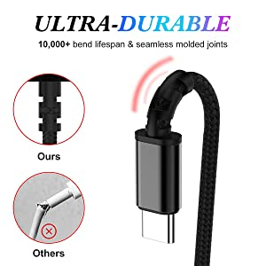 FUTESJ Type C Cable,USB C to USB A Charger (6ft, 2 Pack), Nylon Braided Fast Charging Cord for Samsung Galaxy S9 S8 Note 9, Pixel, LG V30 G6 G5, Ninte