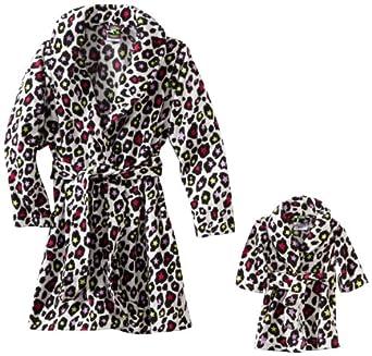 Dollie & Me Little Girls'  All Over Animal Multi Color Print Robe, White Black, 6X