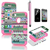 Valentine's Day Gift --Pandamimi ULAK(TM) 3-Piece Hybrid High Impact Case Tribal Pink Silicone for iphone 4 4S +Screen Protector+Stylus