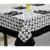 AURAVE Grey & Black Ikat Design Premium Cotton Table Cover Set - 6 Seater (with Napkins)