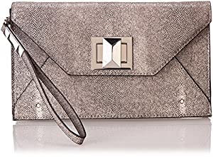 BCBG Faux Stingray with Icon Turnlock Clutch,Stone,One Size