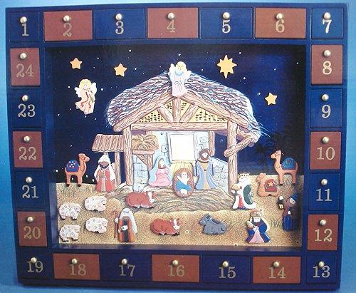 "25-Piece Wall Mount/Table Top Wooden Christmas Nativity Advent Calendar Set 16"""