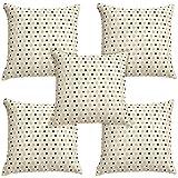 Idrape Rexin 5 Piece Cushion Cover Set- White, 40 Cm X 40 Cm