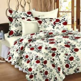 Ahmedabad Cotton Floral 100% Cotton Double Bedsheet With 2 Pillow Covers , Multicolor