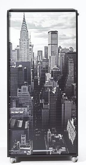 Simmob ORGA140NON500 New York 500 Armoire Informatique Mobile avec 2 Tiroirs Bois Noir 53,1 x 65,2 x 139,9 cm