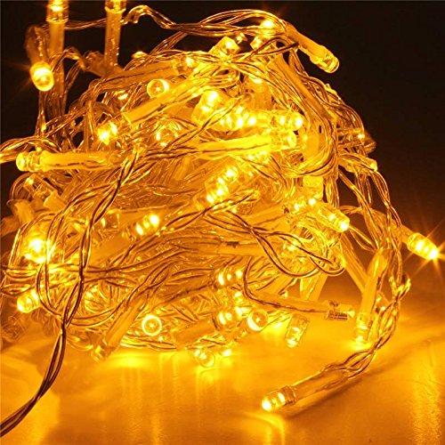 SOLMORE 20M 200 LED String Dekorative Strip Lichterkette Weihnachtsbeleuchtung für Weihnachten Party 220V Gelb
