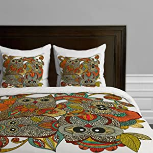 DENY Designs Valentina Ramos 4 Owls Duvet Cover, Twin