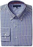 """Tommy Hilfiger Mens Non Iron Regular Fit Tattersall Buttondown Collar Dress Shirt, Dark Blue, 18"""" Neck 34""""-35"""" Sleeve"""