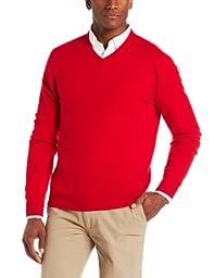 Williams Cashmere Men\'s V-Neck Sweater, Cherry, Large