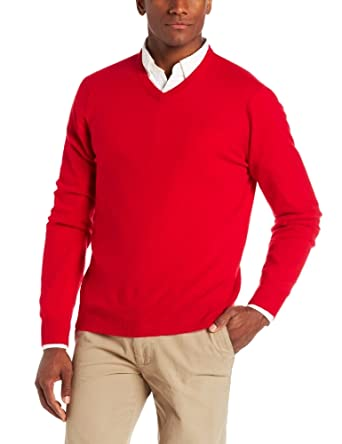 Williams Cashmere Men's V-Neck Sweater, Cherry, Medium