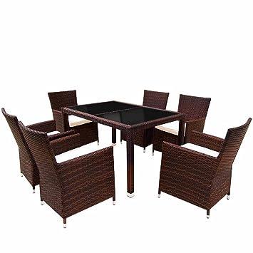 Table Noire 190 x 90 x 75 cm Salon de jardin 8 DIVERSES COULEURS AU CHOIX 8 Chaises Marron 1 en r/ésine tress/ée Marron