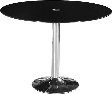 Stratford modernen Esstisch mit einem schwarz Glas Circle Top Metall Beine