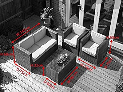 Milan 4pc Rattan Garden or Conservatory Furniture Sofa Set - Fully Assembled