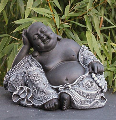 Steinfigur-Buddha-Steinguss-Schiefergrau