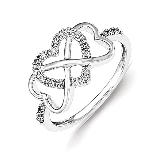 Sterling Silver Polished Hearts Diamond Ring